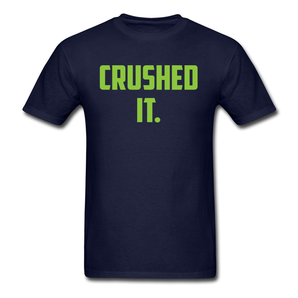 Crushed It Summer T-Shirt for Men Pure Cotton Labor Day Tops Tees Print Tee Shirt Short Sleeve Retro Round Neck Crushed It navy