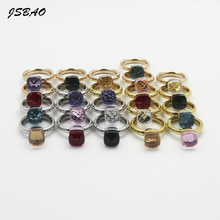 JSBAO Rose Gold /Silver/Gold Colour Stainless Steel 7 Colours Crystal Ring For Women Size 6-10 Female Ring Jewelry Wholesale