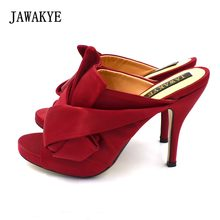 JAWAKYE Big Butterfly-knot High heeled Sandals Women Peep Toe Crossover Red Ladies  Shoes Cozy Silk Slides High heels Slippers f73d06864611
