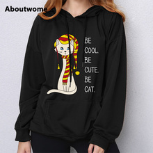 Be Cool Be Cute Be Cats hoodie womens Funny sweatshirt Creative Design Pattern Coat Tops Long Sleeve Loose Cute Cartoon hoodie