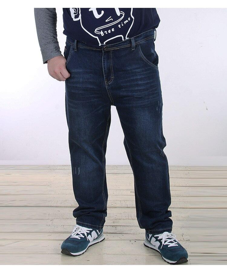 Casual Autumn Spring Mens Big Size Jeans Elastic Stretch 48 50 Oversized Denim Pants Trousers For Men Big and TallÎäåæäà è àêñåññóàðû<br><br>