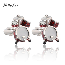 Personality Men Jewelry Music Lover Drum Guitar Cufflinks For Men Shirt Accessory Fashion Metal Music Design Cuff Link wholesale