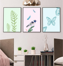 3 Pieces Modern simple small and clean Nordic flower and bird painting canvas paintings Decoration For Wall