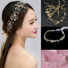 Handmade Bridal Wedding Hair Accessories For Women Headpiece Rhinestone Pearl Flower Long Tiaras Crown Headband Ornament Jewelry(China)