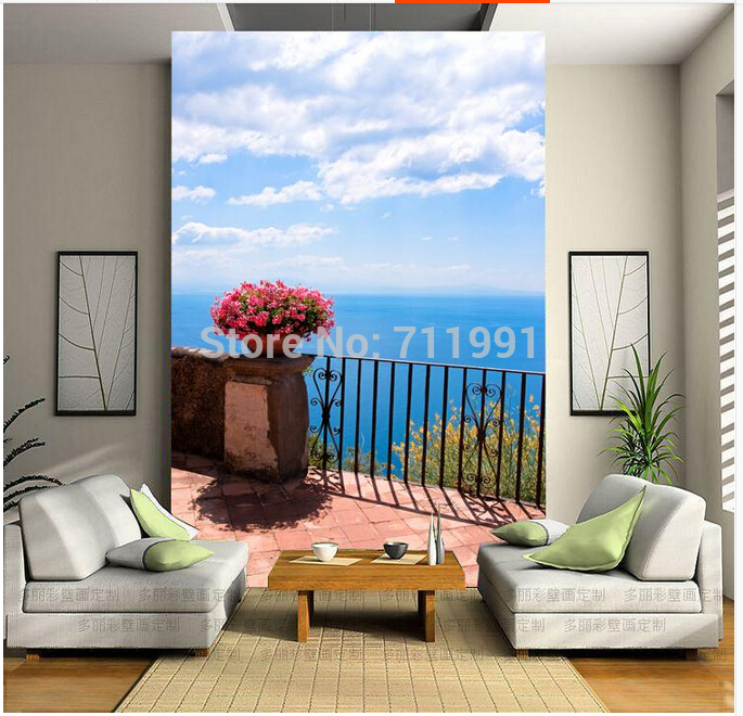 Free shipping custom wallpaper mural in modern 3D entrance hallway corridor room background wall paper Med Aegean Sea<br>