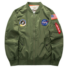 Grandwish Spring Mens Bomber Jacket Nasa Patch Design Men Pilot Jacket Coat Plus size 6XL Mens Bomber Jacket with Patches, PA901