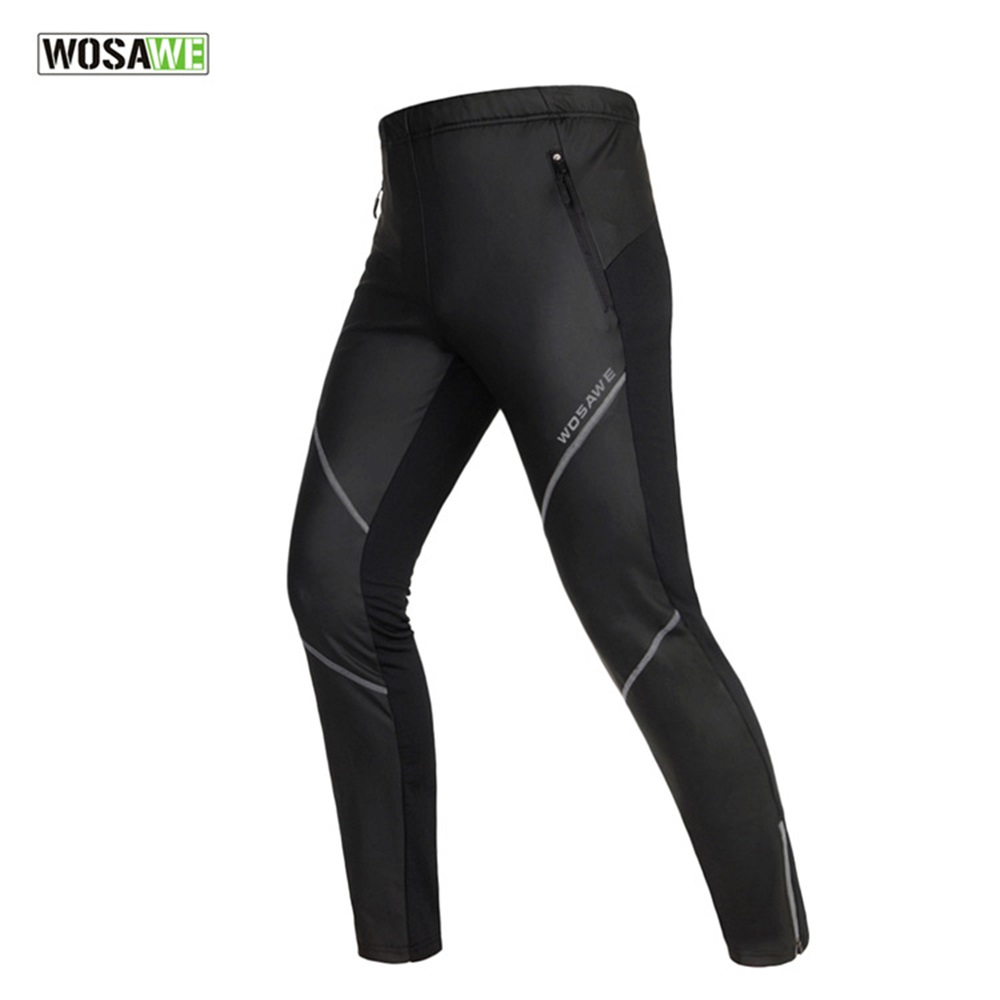WOSAWE Unisex Cycling Long Pants Windproof Fleece Thermal Winter Long Pants Windbreak Sports  Pant Tights Bicycle Clothing<br>