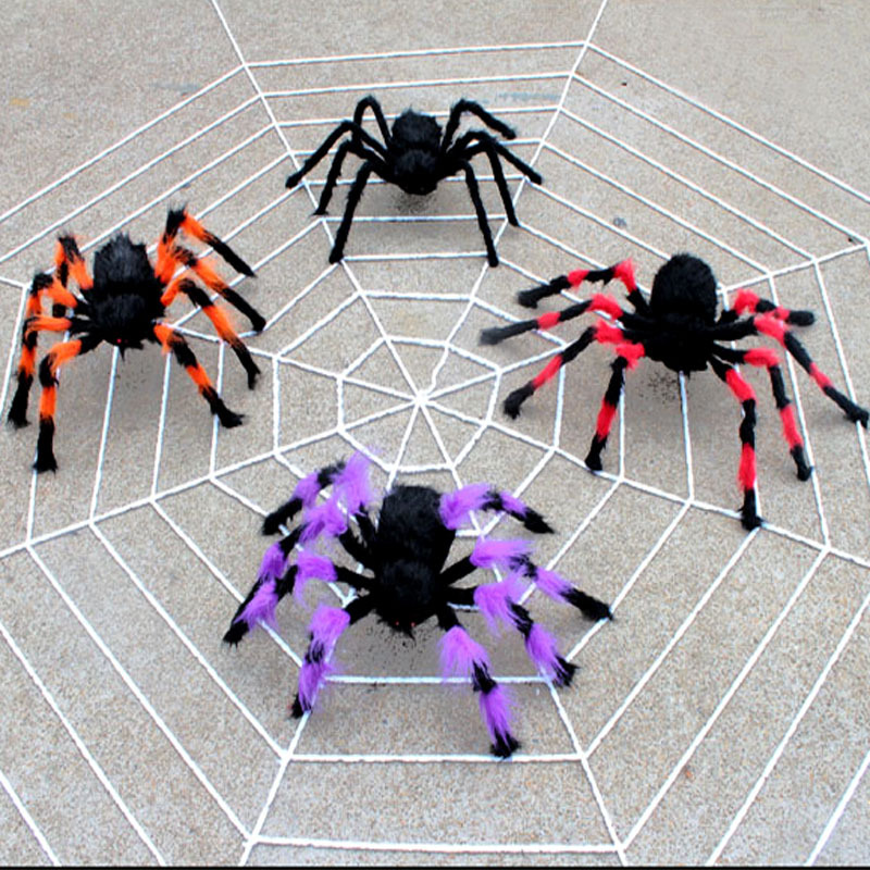halloween decoration horror black spider haunted house spider web bar party decoration supplies simulation plush tricky toy  (3)