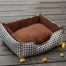 Fine joy Pet Bed Sofa Plaid Canvas Removable Cover Cotton Mat Pets Cat Dog Sleeping Cushion Blanket Pet Kennel Nests
