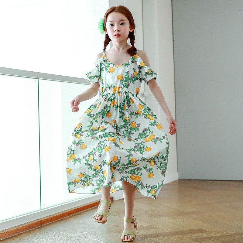 flowers printed girls summer dress beach casual loose 2018 bohemian long summer dress maxi girls dresses cotton clothing<br>