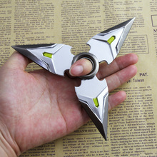 Game OW Genji Shuriken Keychain Zinc Alloy Silver Weapons Model Kids Christmas Gift