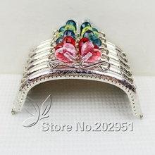 20 pcs/lot 12.5 cm Sliver Heart Flower Head Candy Bead Purse Frame Handle for Bag Sewing Craft Tailor Sewer wholesale(China)