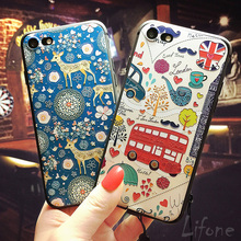 3D Relief Cartoon red bus blue Deer Soft silicone Case For iPhone 7 6 6S Plus lover cute Phone Cover For iPhone 6 7 6S Back