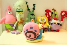 Super cute 6pcs 20cm mini cartoon animation SpongeBob Patrick Star Crab boss plush doll stuffed toy creative children girl gift