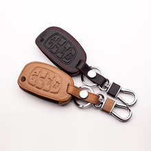 High quali Car Leather 4 key for Hyundai IX35 IX25 I10 I20 Sotaque Elantra IX35 IX45 leather car remote key case protect shell(China)