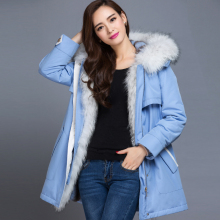 The new full-liner Nick clothing Rex raccoon fur collar and long sections women's fur coat fur