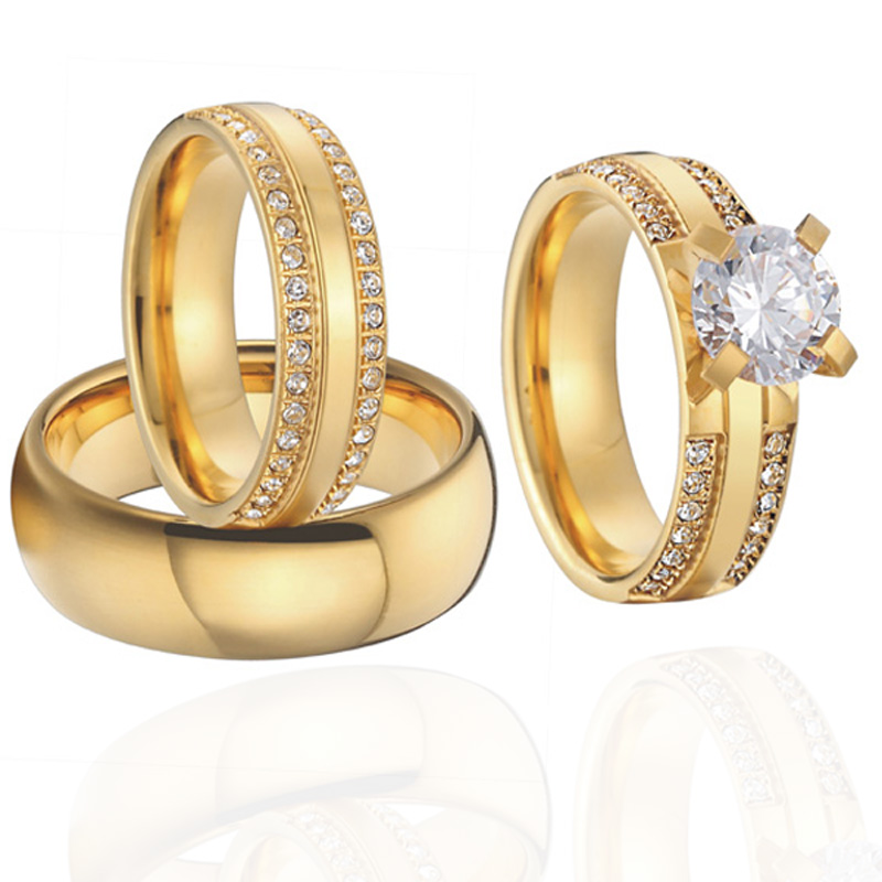 China wholesaler beautiful custom gold color 3 pieces titanium steel couples wedding band engagement rings sets anel (1)