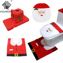 3pcs/set Happy Santa Claus Toilet Seat Cover Bath Mats Toilet Seat Lifters Christmas Decorations Bathroom Accessories Sets(China)