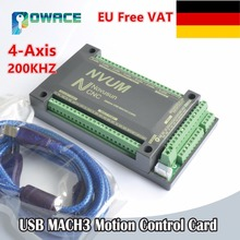 [EU Delivery/Free VAT] 4 Axis USB Mach3 200KHZ NVUM CNC Controller Motion Control Card for Stepper Motor Servo Motor(China)
