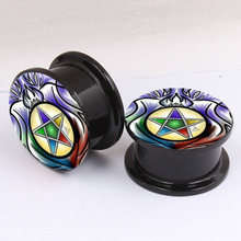 hot sale models blue light star ear headphone body jewelry plugs and tunnels ear plugs plug ear expander(China)