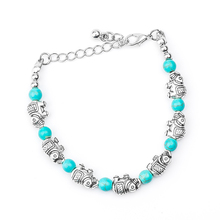H:HYDE Nice Shipping Hot Sale Retro Elephant Adjustable Chain Bead For Ladies Natural Stone Bracelet Women's Vintage Bracelets(China)