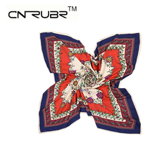 CN-RUBR High Quality Women Imitated Silk Satin Scarf 90*90 100% Twill Square Printed Satin Female Shawl 5 Colors Beautiful Scarf