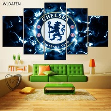5 Pieces Chelsea Football Club Sports Team Fans Oil Painting On Canvas Modern Home Pictures Prints Liveing Room Deco Fans Poster