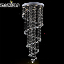 Modern K9 Large LED Spiral Living Room Crystal Chandeliers Lighting Fixture for Staircase Stair Lamp Showcase Bedroom Hotel Hall