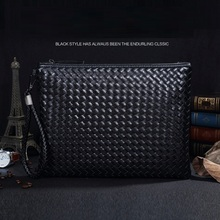 GUDANSEN Black Woven Envelope Bag Leather Handbags Famous Brands Designer Clutch Wrist Strap High Quality Hand Bags A21