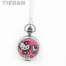 TIEDAN Brand Enamel Lovely Cute Hello Kitty Pocket & Fob Watches with Necklace Chain Pendant Vintage Retro Pocket Watch
