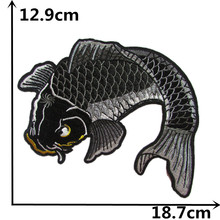 high quality cartoon carp Hot melt patches clothes down jacke embroidery patch DIY clothing decorate 1pcs for sale C2361