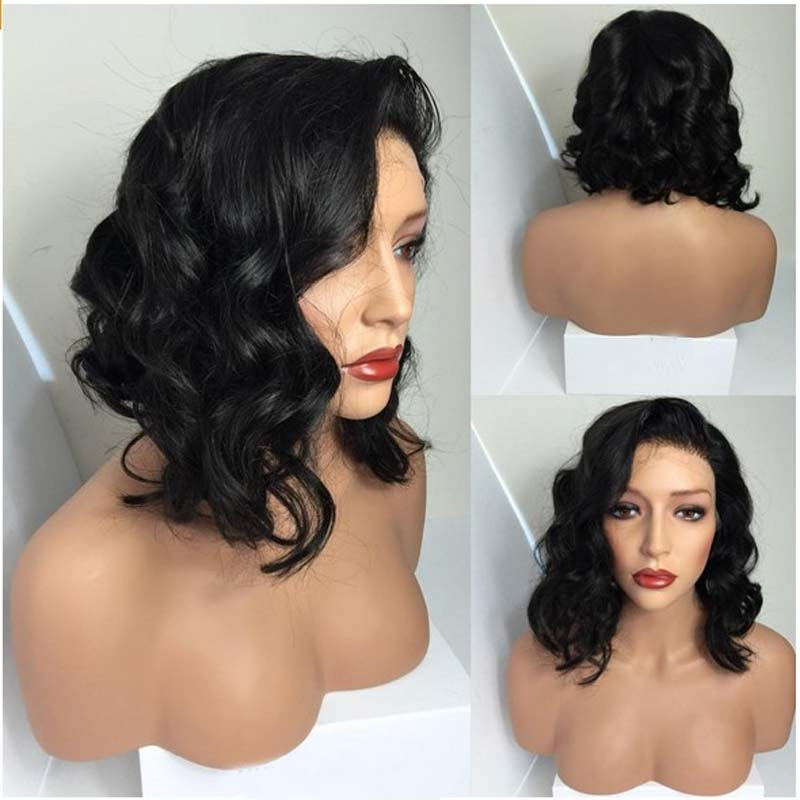 Christmas Sale New Wavy Bob Wigs Synthetic Lace Front Wig Short Wigs For Black Women Black Glueless Lace Front Synthetic<br><br>Aliexpress