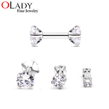 A Pair Tragus Ear Piercing 316L Stainless Steel Round Cubic Zirconia 16g 1.2*6MM  Internally Threaded  Body Jewelry