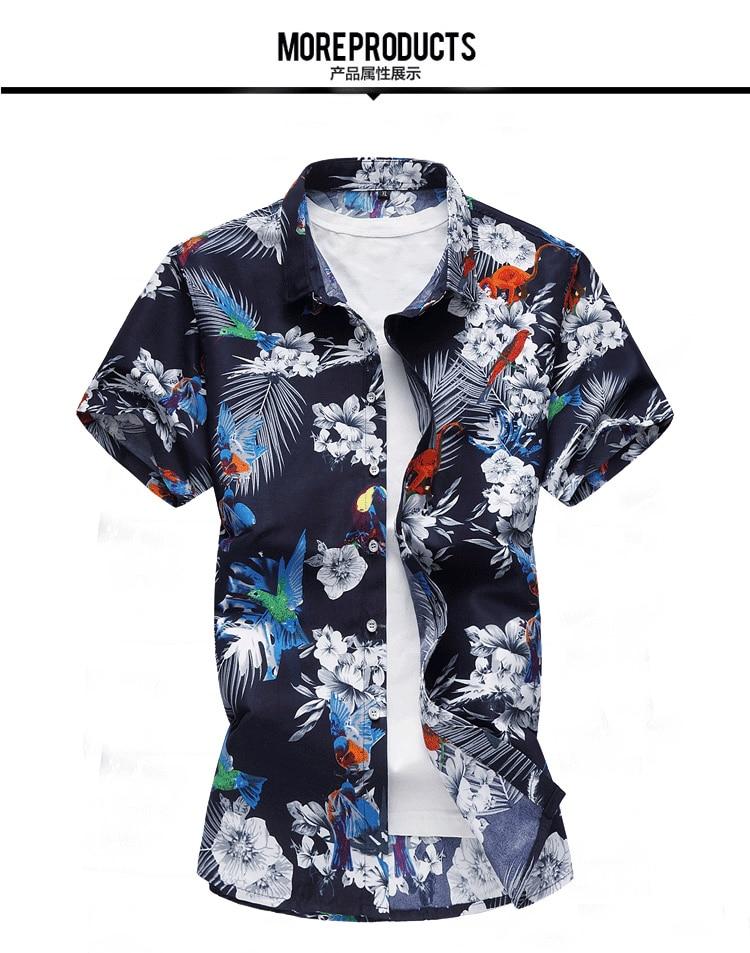 2018 Short Sleeve Mens Hawaiian Shirt Male Casual Camisa Masculina Flower Print Beach Summer Shirts Brand Clothing Men Plue Size 9