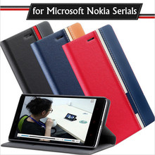 New case for Microsoft Nokia Lumia 550 630 640 640XL 650 Double color classic Flip PU Leather back cover Protective Shell