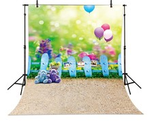 Balloon Fuzzy Teddy Bear Grass Photography Backgrounds Vinyl cloth Computer printed children kids backdrop