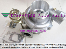 Free Ship GT2871R GT28R GT2871SR 743347-0001 Dual Ball Bearing Turbo Turbocharger For Vehicle tuning 1.8L-3.0L 250-450HP Gaskets