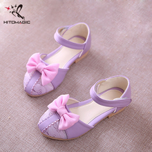 HITOMAGIC 2017 New Spring Summer Shoes Sandals Infant Kids Princess Bowtie Leather Lace Baby Girl Shoes Kids Children Footwear