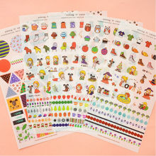 Fashion 9Styles Cute Cartoon Toy Stickers Children Kids Scrapbooking Diary Album Decoration Adhesive Stickers