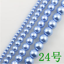 Wholesale Blue Imitation Glass Pearl Beads Round Spacer Loose Pearls DIY Jewelry Making Accessories 4.6.8.10.12.14mm GL-17(China)