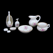 1/12 Miniature Dollhouse Bathroom Accessories Set Floral Ceramic 8PCS Pastel Rose Dollhouse Bath Decoration Dolls Gift Kits(China)
