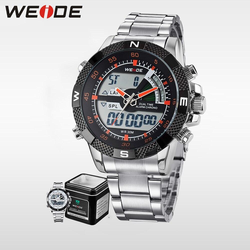 WEIDE Luxury Brand Men Sport Watch Analog Digital Dual Display Water Resistant Back Light Stainless Steel Strap Metal Gift Box<br>