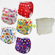 printing polyester minky fabric 5pcs cloth diaper and pul newborn nappies With 5pcs 4-Layer Bamboo Inserts(5sets)