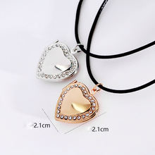 Wedding Bridal Women Lover Mom Gold-color Locket Necklace Waxed Cord Heart Photo Locket Rhinestone Pendant Charms Necklace(China)