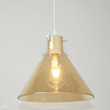 Blueking Modern Bell Amber Glass Pendant Light Loft E27 LED Edison Bulbs Restaurante Coffee Shop Halling Pendant Lamp Fixture(China)