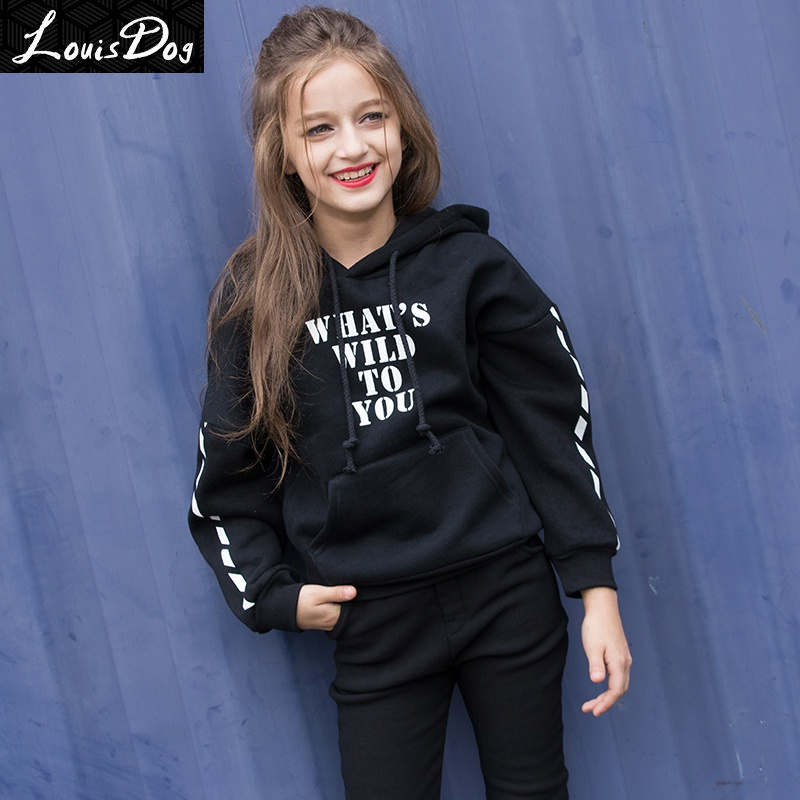 LouisDog Hoodies for Teenage Girls Kids Plus Thick Pullover Hoodies Teenagers 100% Cotton Hoodie Juniors Autumn Winter Clothes<br><br>Aliexpress