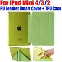 For iPad Mini 4 3 2 Ultrathin PU Leather Case Smart Cover + Soft TPU translucent back case for Apple iPad Mini 4 3 2 IM416