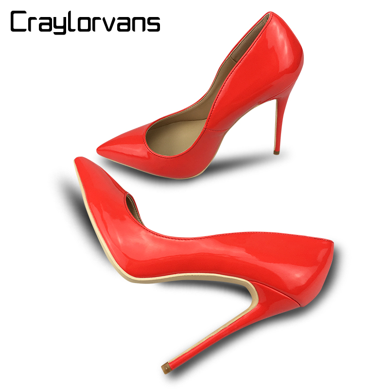 Craylorvans Red Patent 12/10/8cm Heel Height Shoes Women Classical Wedding Shoes Sexy Pointed Toe High Heels Russian Size 43<br>