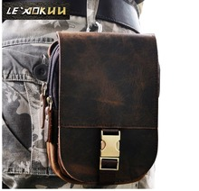 "New Top Quality Genuine Real Leather Cowhide men vintage Brown Small Hook Belt Bag Waist Pack 5"" Phone Case 6185(China)"