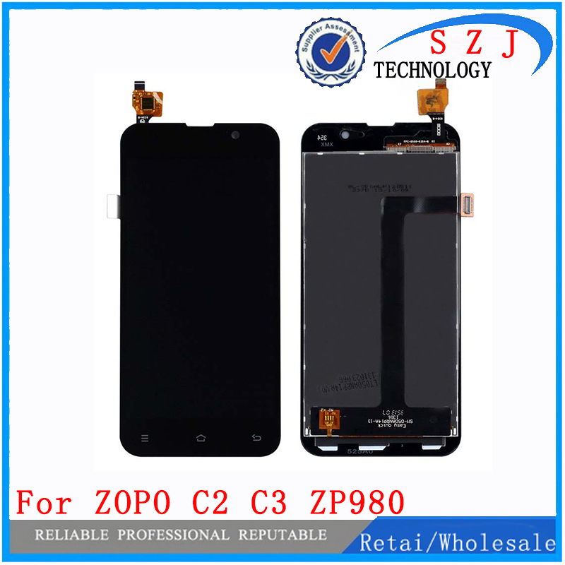 New 5 inch For ZOPO C2 C3 ZP980+ LCD Display +Digitizer Touch Screen Glass 1920*1080 FHD Black and White Free Shipping<br>